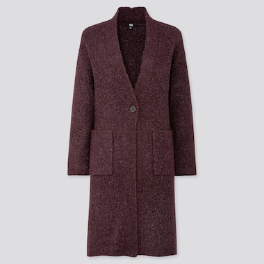 WOMEN TWEED KNITTED COAT, WINE, medium