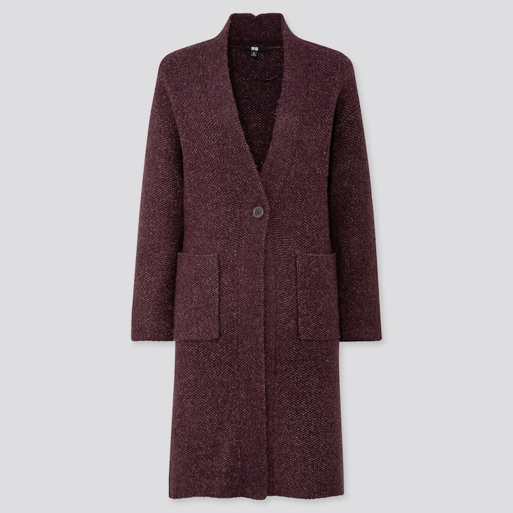 WOMEN TWEED KNITTED COAT, WINE, large