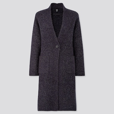 Women Tweed Knitted Coat, Navy, Medium
