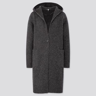WOMEN MELANGE WOOL HOODED KNITTED COAT, DARK GRAY, medium