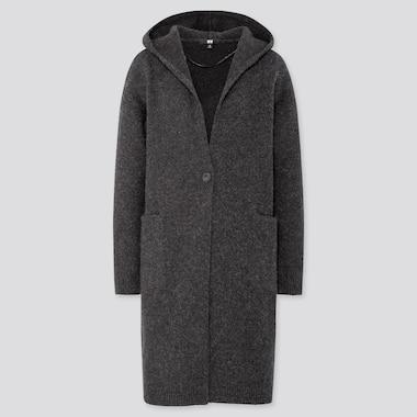 Women MLange Wool Hooded Knitted Coat, Dark Gray, Medium