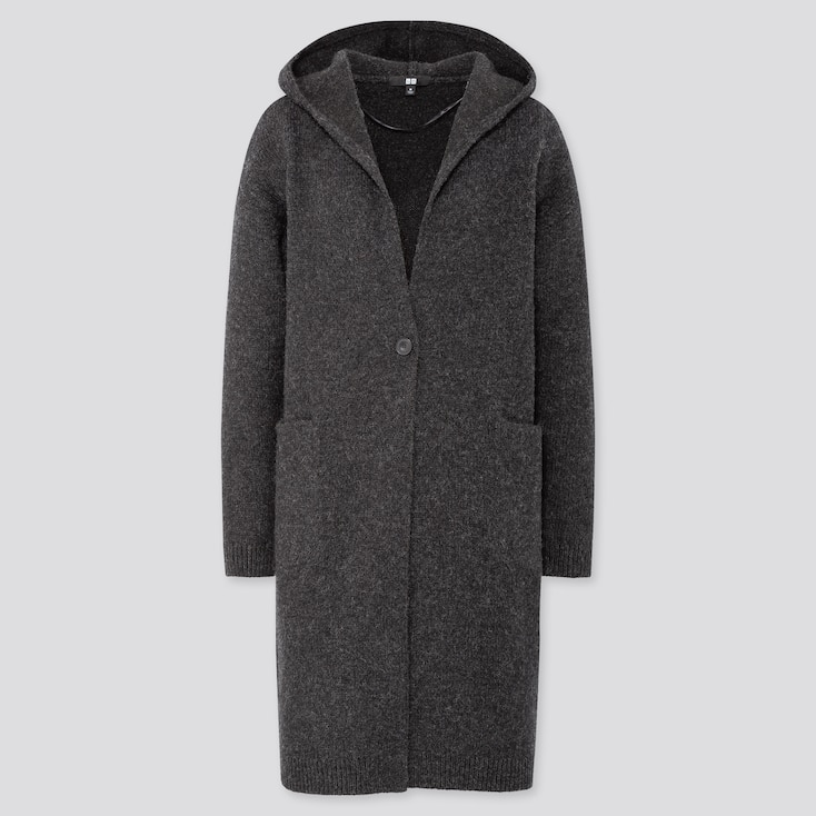 WOMEN MELANGE WOOL HOODED KNITTED COAT, DARK GRAY, large