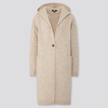Women Melange Wool Hooded Knitted Coat, Natural, Medium