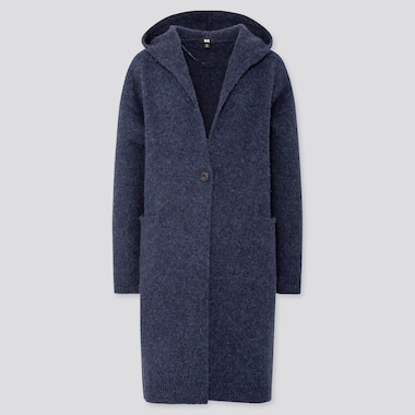 WOMEN MELANGE WOOL HOODED KNITTED COAT, BLUE, medium