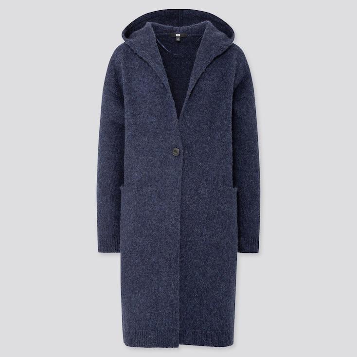 WOMEN MELANGE WOOL HOODED KNITTED COAT, BLUE, large
