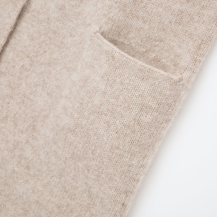 Women MLange Wool Hooded Knitted Coat, Dark Gray, Large