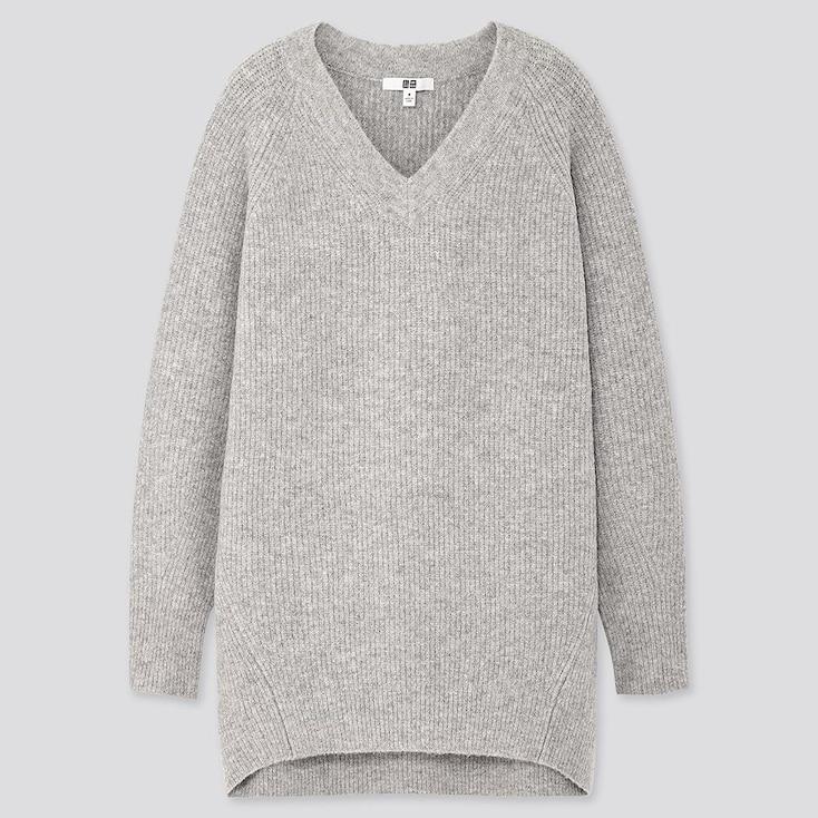 Women Souffle Yarn V-Neck Tunic, Light Gray, Large