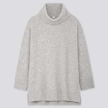 WOMEN SOUFFLE YARN TURTLENECK TUNIC, LIGHT GRAY, medium