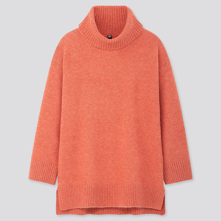 WOMEN SOUFFLE YARN TURTLENECK TUNIC, ORANGE, large