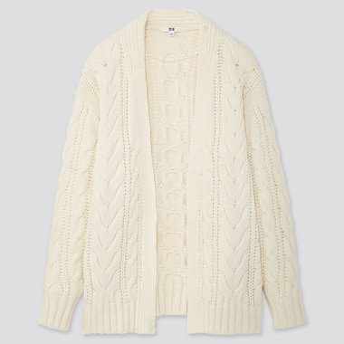WOMEN RELAXED CABLE KNIT CARDIGAN, OFF WHITE, medium