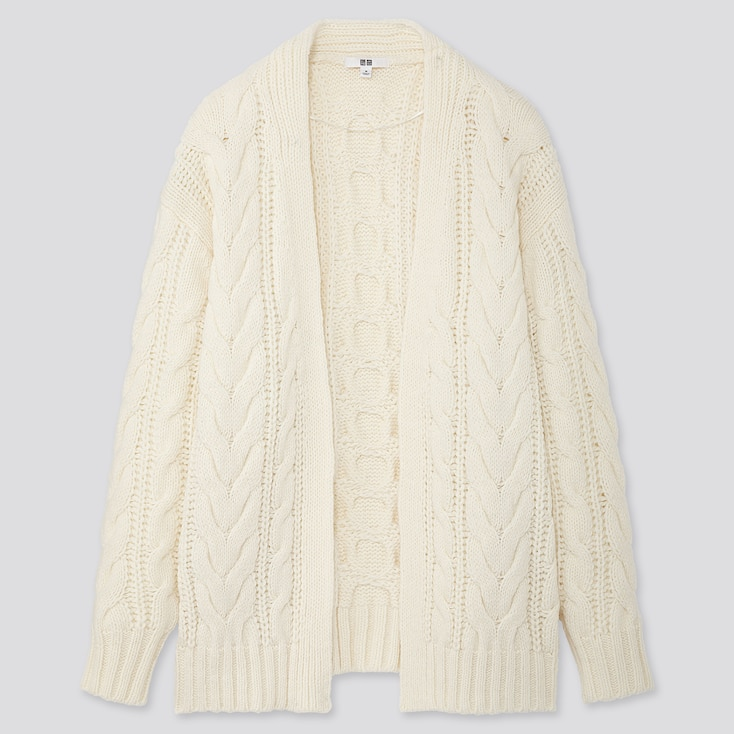 WOMEN RELAXED CABLE KNIT CARDIGAN, OFF WHITE, large