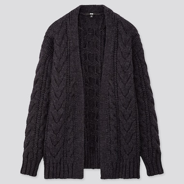 WOMEN RELAXED CABLE KNIT CARDIGAN, DARK GRAY, medium