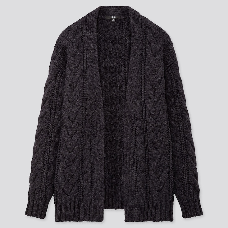 Women Relaxed Cable Knit Cardigan, Dark Gray, Large