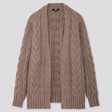 WOMEN RELAXED CABLE KNIT CARDIGAN, BEIGE, medium
