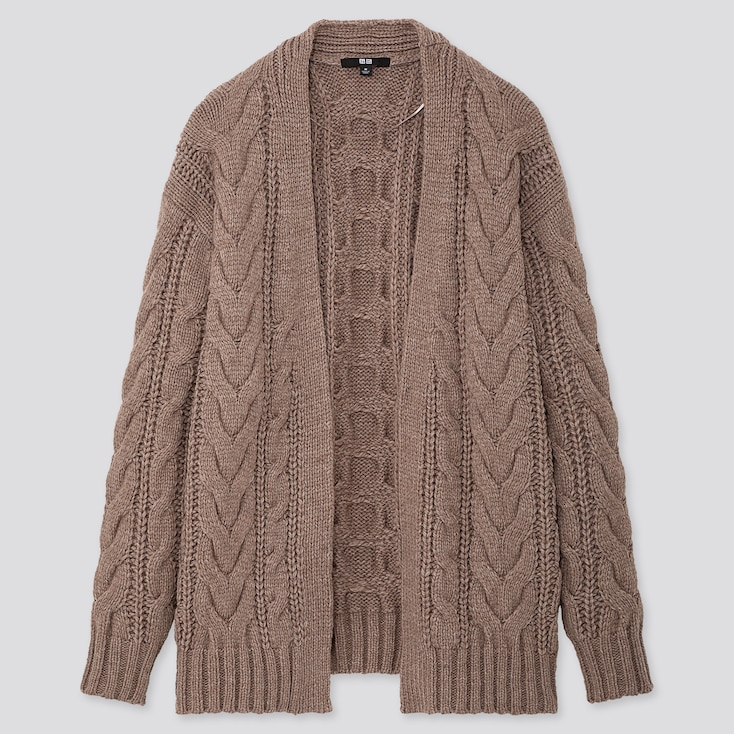 WOMEN RELAXED CABLE KNIT CARDIGAN, BEIGE, large