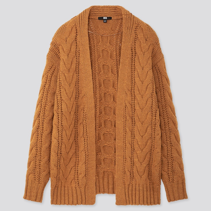 WOMEN RELAXED CABLE KNIT CARDIGAN, YELLOW, large