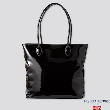 WOMEN ENAMEL TOTE BAG (INES DE LA FRESSANGE), BLACK, medium