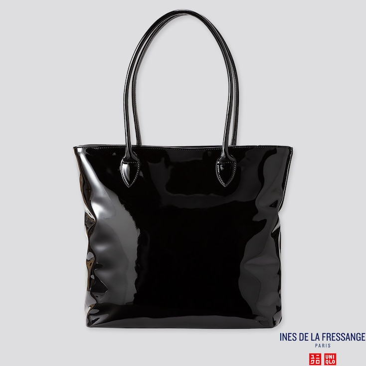 WOMEN ENAMEL TOTE BAG (INES DE LA FRESSANGE), BLACK, large