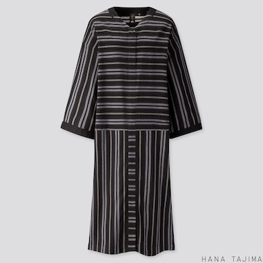 WOMEN STRIPED V-NECK LONG-SLEEVE DRESS (HANA TAJIMA), BLACK, medium