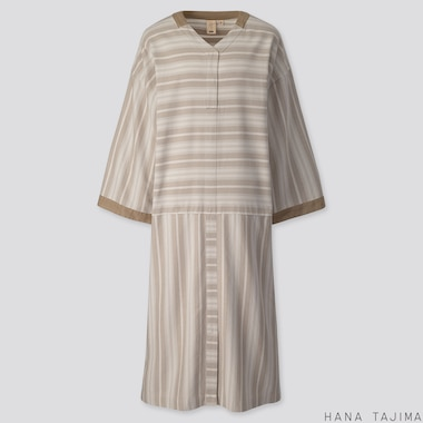 WOMEN STRIPED V-NECK LONG-SLEEVE DRESS (HANA TAJIMA), BEIGE, medium
