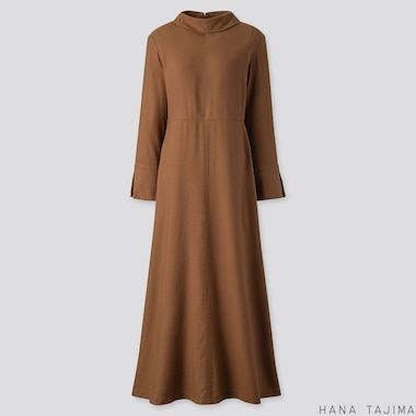 WOMEN FLANNEL FLARE LONG-SLEEVE LONG DRESS (HANA TAJIMA), BROWN, medium