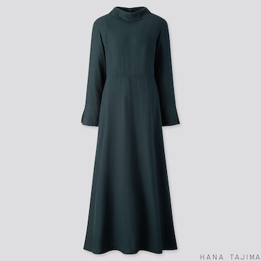 WOMEN FLANNEL FLARE LONG-SLEEVE LONG DRESS (HANA TAJIMA), DARK GREEN, medium