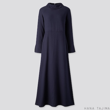 WOMEN FLANNEL FLARE LONG-SLEEVE LONG DRESS (HANA TAJIMA), NAVY, medium
