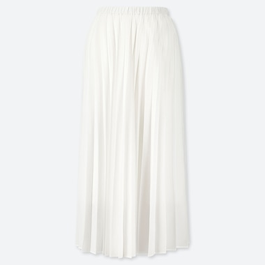 WOMEN PLEATED LONG SKIRT, WHITE, medium