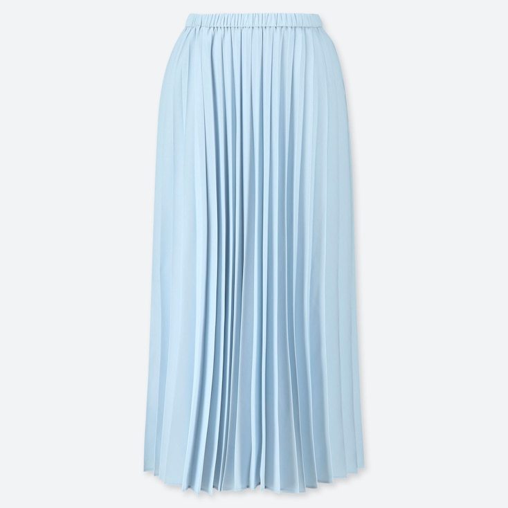 WOMEN PLEATED LONG SKIRT, LIGHT BLUE, large