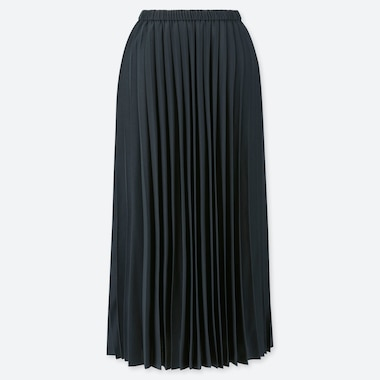 WOMEN PLEATED LONG SKIRT, NAVY, medium
