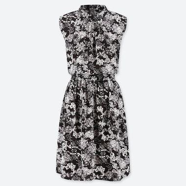 WOMEN PRINTED SLEEVELESS BELTED DRESS