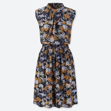 WOMEN PRINTED SLEEVELESS DRESS, BLUE, medium