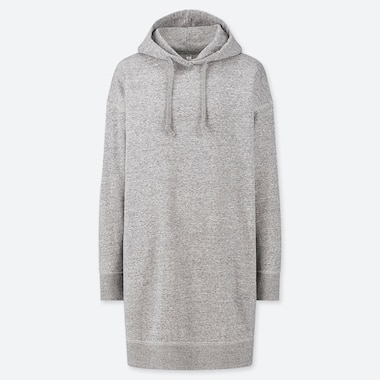 WOMEN SWEAT HOODIE LONG-SLEEVE DRESS, GRAY, medium