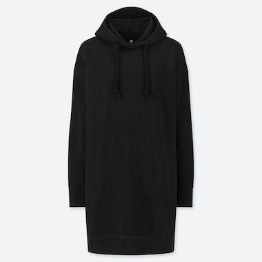 WOMEN SWEAT HOODIE LONG-SLEEVE DRESS, BLACK, medium