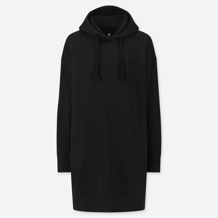 WOMEN SWEAT HOODIE LONG-SLEEVE DRESS, BLACK, large