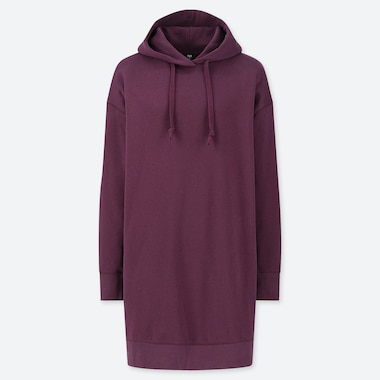 WOMEN SWEAT HOODIE LONG-SLEEVE DRESS, WINE, medium
