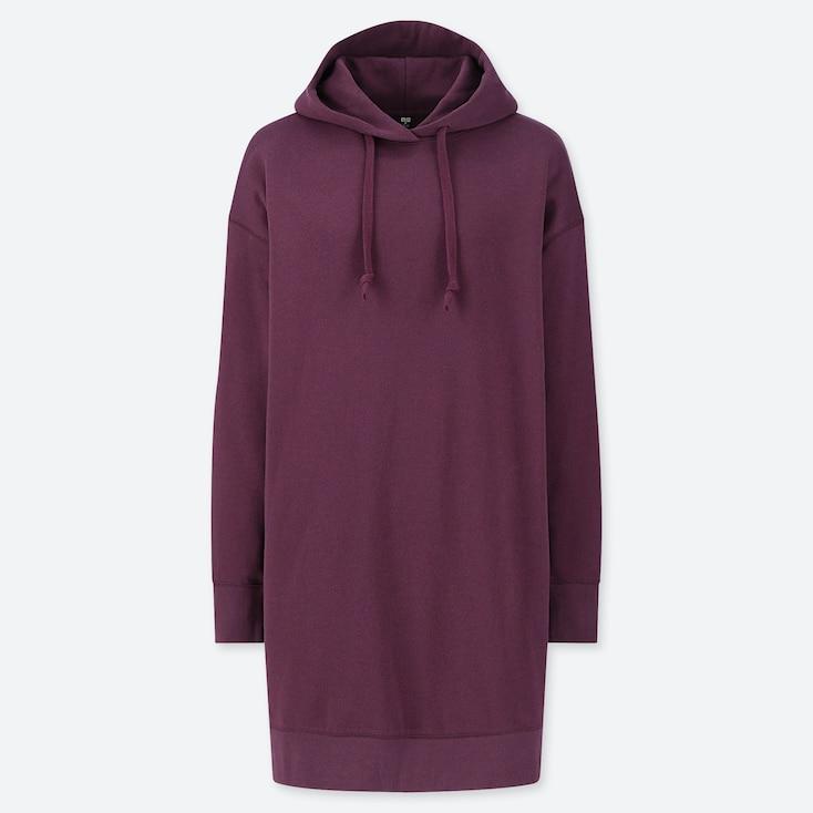 WOMEN SWEAT HOODIE LONG-SLEEVE DRESS, WINE, large