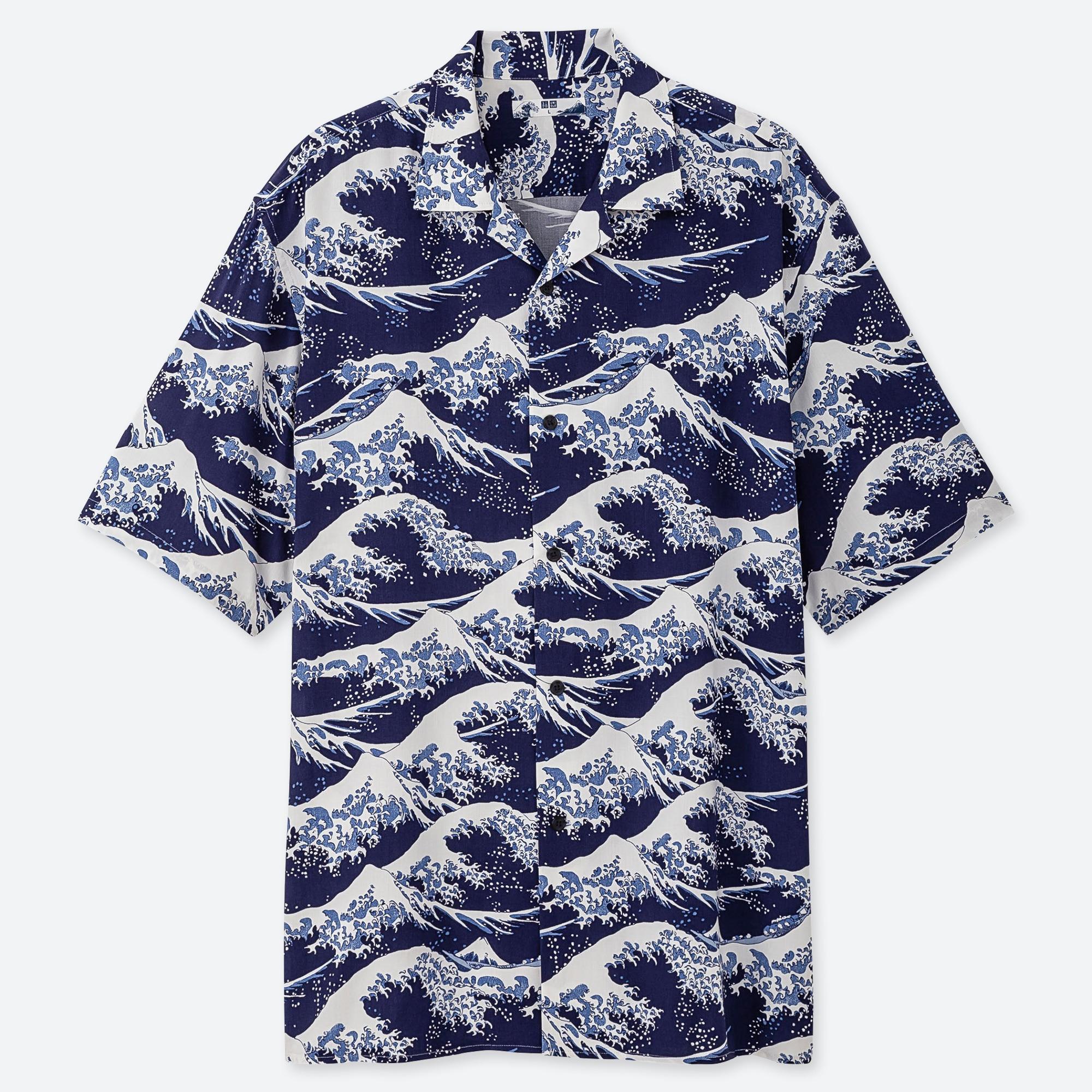 UNIQLO × Hokusai Blue Men`s Graphic T-Shirt Japan //New// Off White