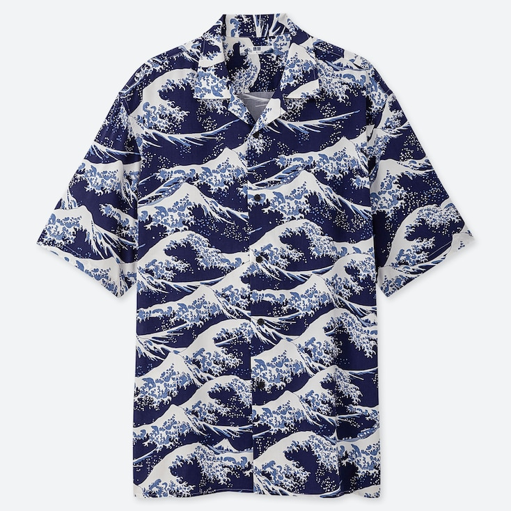 MEN HOKUSAI BLUE UT GRAPHIC SHORT SLEEVED SHIRT (OPEN COLLAR)