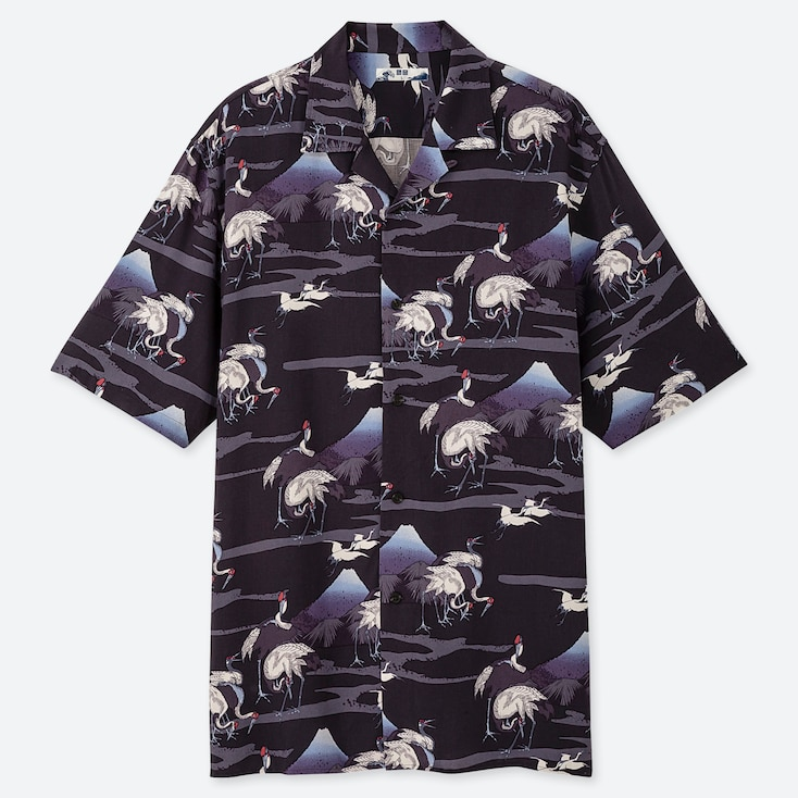 MEN HOKUSAI BLUE OPEN COLLAR SHORT-SLEEVE SHIRT, BLUE, large