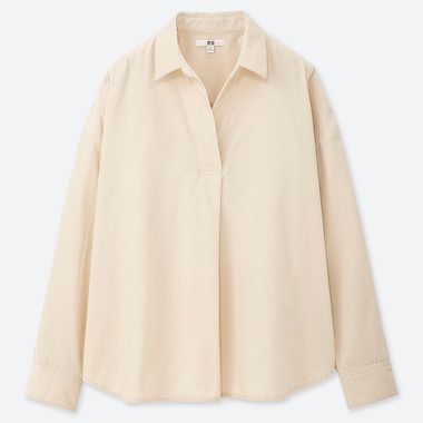WOMEN CORDUROY SKIPPER COLLAR LONG-SLEEVE SHIRT, OFF WHITE, medium