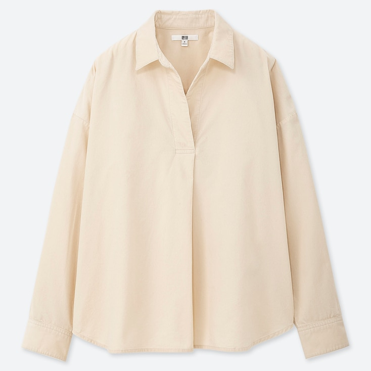 WOMEN CORDUROY SKIPPER COLLAR LONG-SLEEVE SHIRT, OFF WHITE, large
