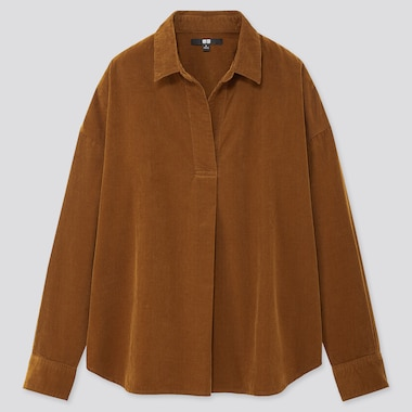 WOMEN CORDUROY SKIPPER COLLAR LONG-SLEEVE SHIRT, BROWN, medium