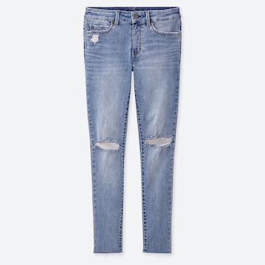 "WOMEN DAMAGED ULTRA STRETCH JEANS (TALL 31"") (ONLINE EXCLUSIVE), BLUE, medium"