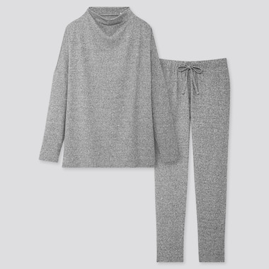 WOMEN SOFT KNITTED JERSEY LONG-SLEEVE SET, GRAY, medium