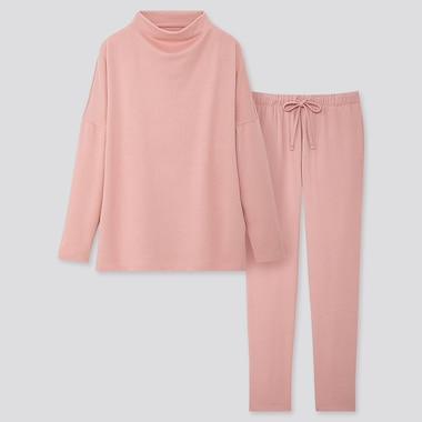 WOMEN SOFT KNITTED JERSEY LONG-SLEEVE SET, PINK, medium