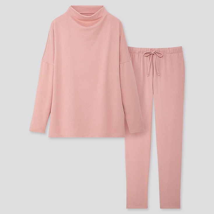 Women Soft Knitted Jersey Long-sleeve Set, Pink, Large
