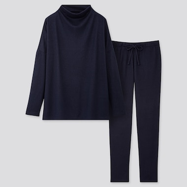 WOMEN SOFT KNITTED JERSEY LONG-SLEEVE SET, NAVY, medium