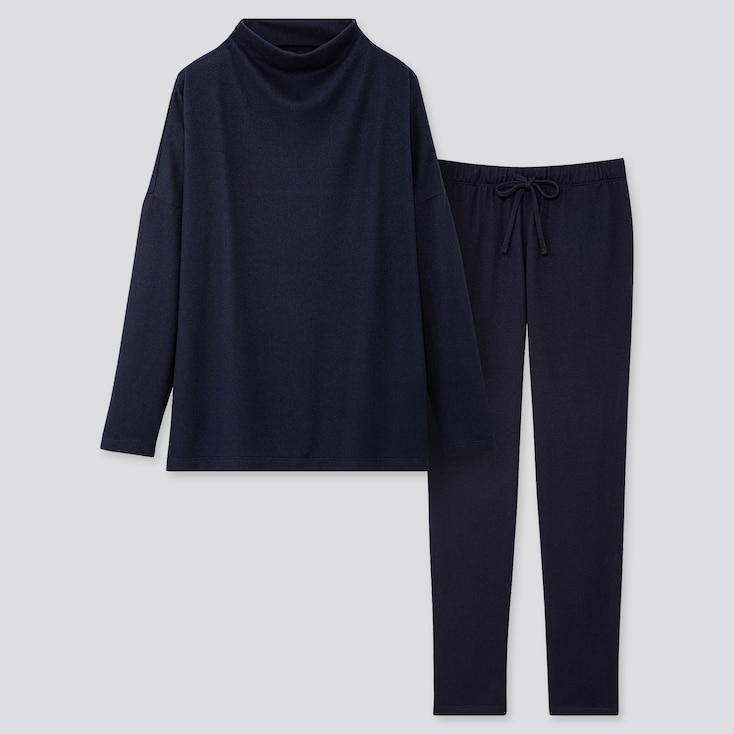 WOMEN SOFT KNITTED JERSEY LONG-SLEEVE SET, NAVY, large