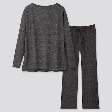 WOMEN SOFT KNITTED JERSEY LONG-SLEEVE SET, DARK GRAY, medium